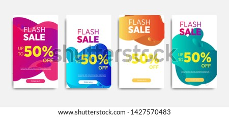 Sale banner template with Dynamic modern design fluid mobile for flash sale banners. special offer set #1427570483