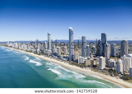 Aerial view of Surfers Paradise on the Gold Coast, Queensland, Australia Royalty-Free Stock Photo #142759528
