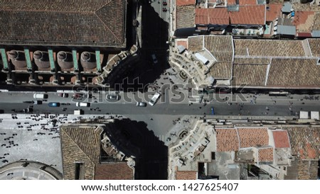 Aerial View of Palermo Via Vittorio Emanuele street with tourists, Italy, Palermo #1427625407