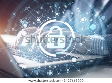 Digital cybersecurity and network protection concept. Virtual locking mechanism to access shared resources. Interactive virtual control screen with padlock. Businessman working at laptop on background #1427663000