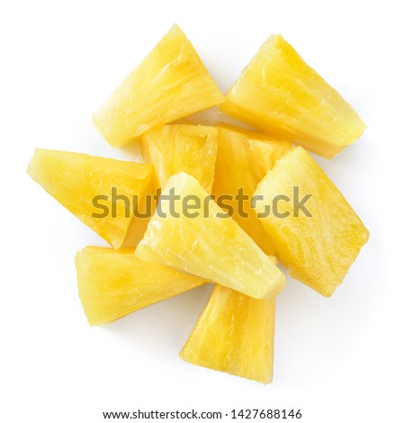 Canned pineapple chunks. Pineapple slices isolated. Pineapple top view. #1427688146