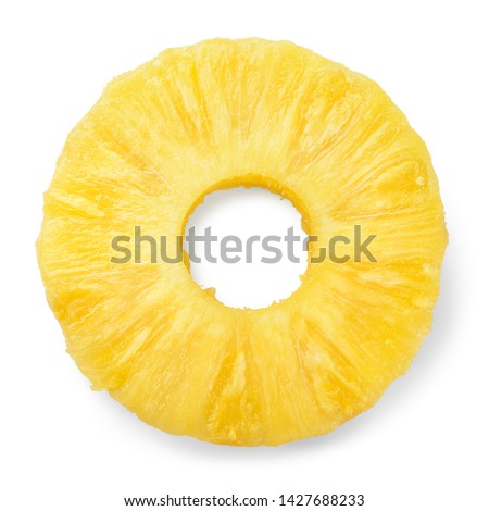 Pineapple ring. Canned pineapple slice. Flat design. Top view. Pineapple isolated on white. #1427688233