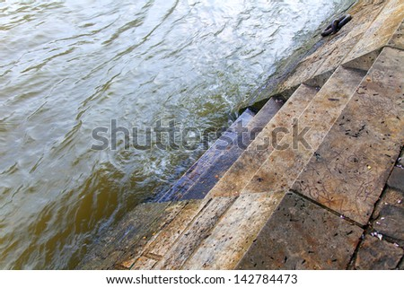 Paris, spring. High water in the river Seine #142784473