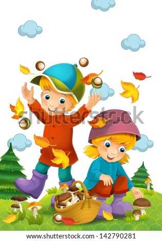 The child in the wood - mushrooming - illustration