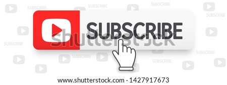 Template subscribe button and finger click cursor. Social media web button, element channel, video content. Blogging. Background subscribe. Social media concept. Vector illustration. EPS 10 #1427917673