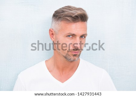 Grizzle hair suits him. Deal with gray roots. Man attractive well groomed facial hair. Barber shop concept. Barber and hairdresser. Man mature good looking model. Silver hair shampoo. Anti ageing. #1427931443