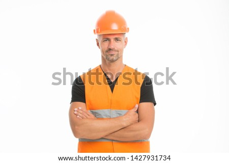 Safety is main point. Man protective hard hat and uniform white background. Worker builder confident looking camera. Protective equipment concept. Builder crossed hands chest. Strong handsome builder. #1427931734