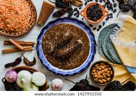 Mole Mexicano, Poblano mole ingredients, mexican spicy food traditional in Mexico #1427955350