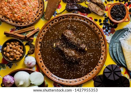 Mole Mexicano, Poblano mole ingredients, mexican spicy food traditional in Mexico #1427955353