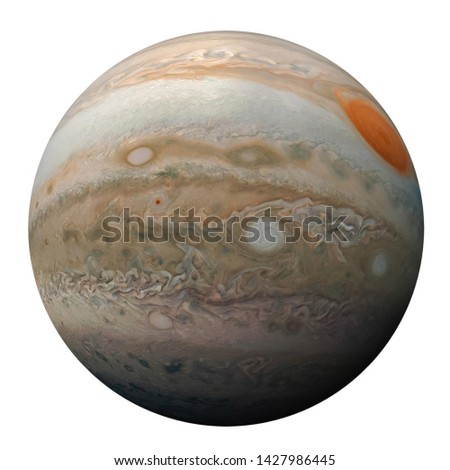 Full disk of planet Jupiter globe from space isolated on white background. View of Jupiter's Great Red Spot and turbulent southern hemisphere. Elements of this image furnished by NASA.