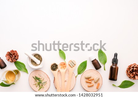 cbd and herb oil for therapy  or treatment as alternative medicine .essential  fragrance aromatherapy . natural organic herbal product for health and wellness. #1428032951