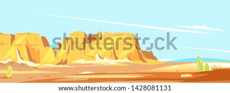 Desert landscape with high rocky canyon in the distance in sunny day, arid deserted place without water, wild west concept scenery background #1428081131