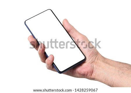 male man holding and showing  blank smart phone isolated  on white background  with clipping path around hand and display with copy space for your text #1428259067