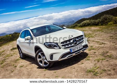 Gran Canaria, Spain - May 12, 2018. Mercedes-Benz GLA test drive in Gran Canaria Island roads #1428270167