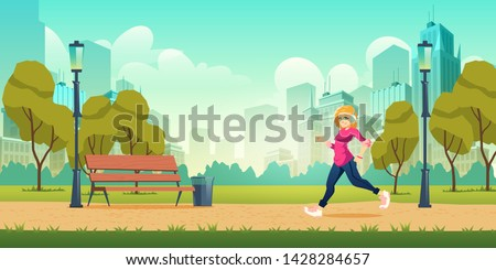 Healthy lifestyle, outdoor physical activity and fitness in modern metropolis cartoon vector concept with happy smiling young woman in headphones jogging, running on pathway in city park illustration Royalty-Free Stock Photo #1428284657