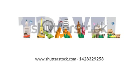 Travel to World. Road trip. Big set of famous landmarks of the world. Time to travel, tourism, summer holiday. Different types of journey. Flat design vector illustration #1428329258