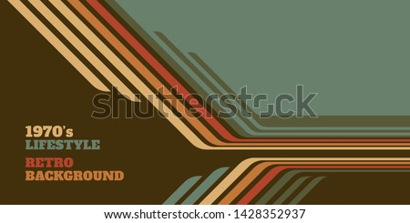 Abstract 1970's background design in simple retro style with stripes. Vector illustration. Royalty-Free Stock Photo #1428352937