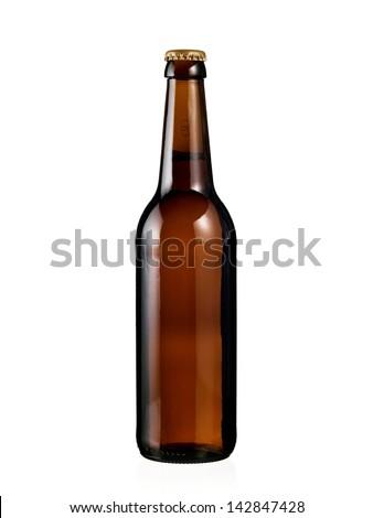 Full brown beer bottle Royalty-Free Stock Photo #142847428