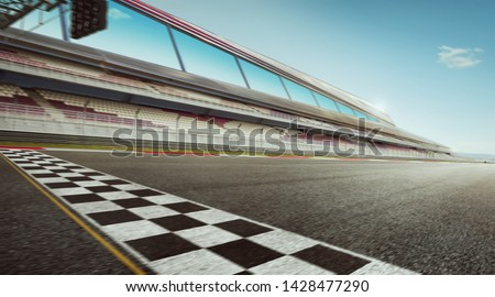 Wide angle view empty asphalt international race track with start and finish line , motion blur effect apply . #1428477290