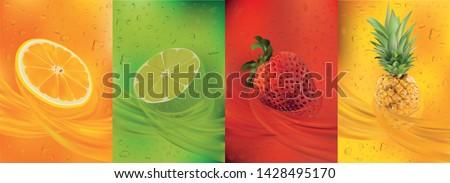 Fruit juice, pineapple, lime, orange, strawberry.3d fresh fruits. Fruit splashes close up. Vector illustration. #1428495170