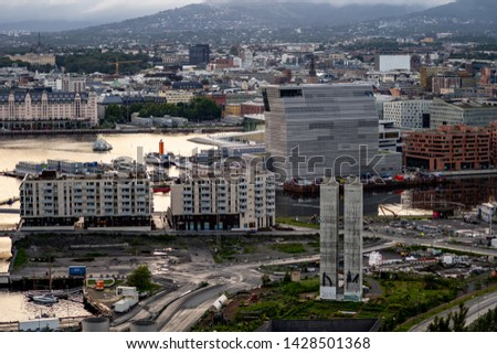 Oslo, Norway - june 8. 2019: View at Oslo from Ekeberg park viewpoint #1428501368