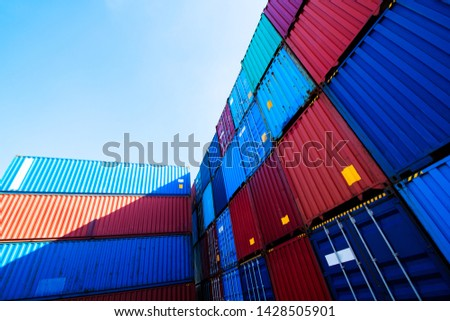 Containers box from Cargo freight ship for import export,logistic concept #1428505901