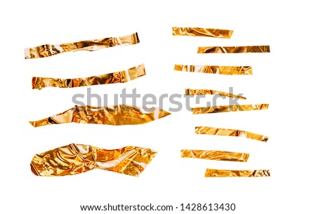 Metallic sticky tape shapes cuts isolated on white background. Shiny flexible crumpled stickers. Set for collage makers. Golden shiny metallic stripes, adhesive pieces in different size. #1428613430