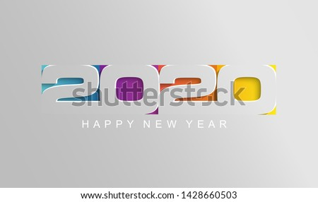Happy 2020 new year card in paper style for your seasonal holidays flyers, greetings and invitations cards and christmas themed congratulations and banners. Vector illustration. #1428660503