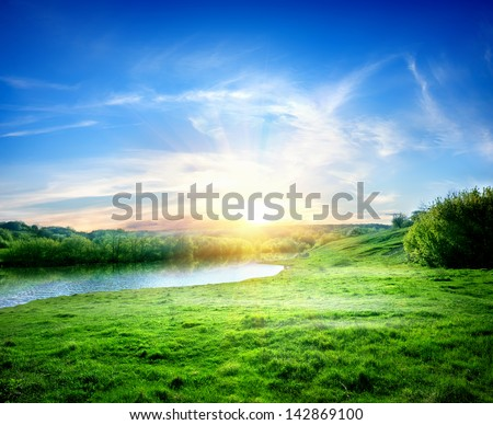 Spring landscape with the river and the sun #142869100