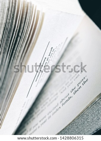 Words on pages, pages in a book. #1428806315