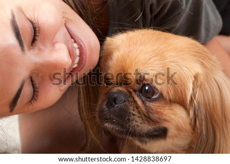 pat animal dog and woman portraits #1428838697