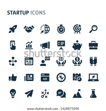 Simple bold vector icons related to start-up company. Symbols such as rocket, binocular and other start-up related items are included in this set.  Editable vector, still looks perfect in small size. Royalty-Free Stock Photo #1428875090
