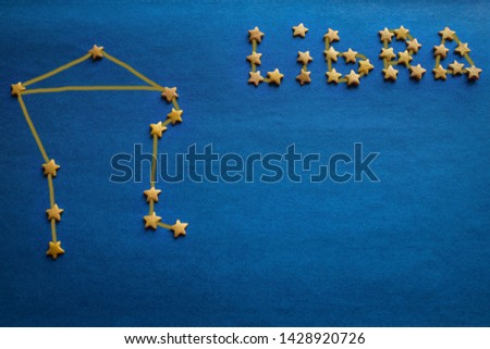 From the small yellow stars the zodiacal constellation of Libra is composed. Eastern horoscope, astrology, prediction of fate by date of birth. The picture is made by the author.