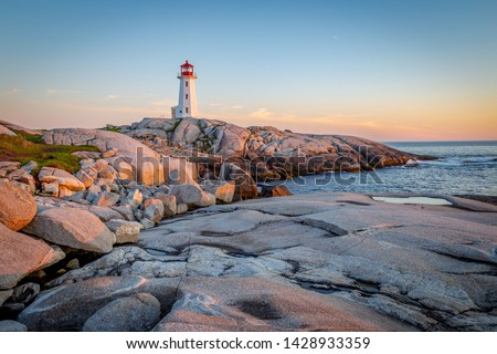 Sunset at Peggy's Cove Light House in Nova Scotia