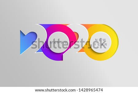 Happy 2020 new year insta colour banner in paper style for your seasonal holidays flyers, greetings and invitations, christmas themed congratulations and cards. Vector illustration. #1428965474