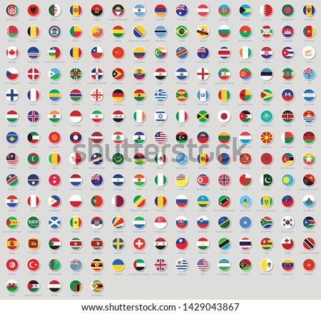 All national flags of the world stickers with names. Rounded flags, circular design, stickers. High quality vector flag isolated on gray background #1429043867