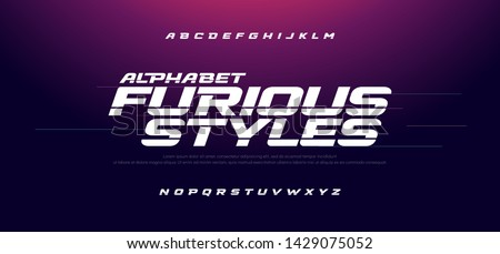Sport Modern Italic Alphabet Font. Typography fast and furious style fonts for movie technology, sport, motorcycle, racing logo design. vector illustration #1429075052