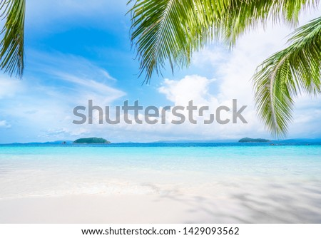 Beautiful beach. Summer holiday and vacation concept background ,tropical landscape. #1429093562