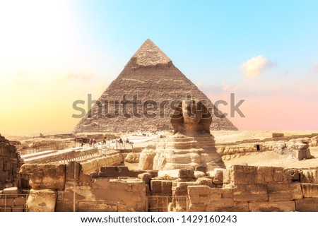 Ruins of the temple of Giza with the Sphinx and the Pyramid of Khafre,  Egypt #1429160243
