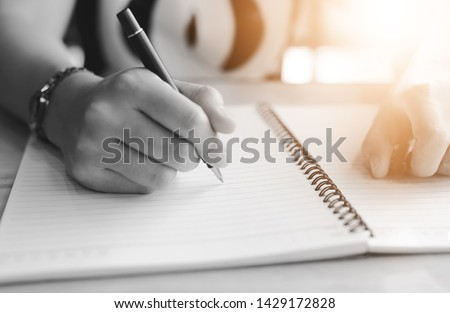 Businesswoman contract signing hand writing pen letter paper concept #1429172828