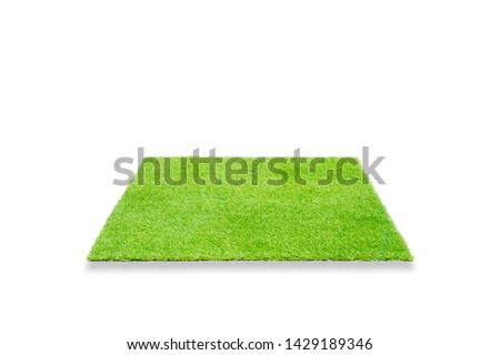 Grass. Perspective empty space of green grass square isolated on white background #1429189346
