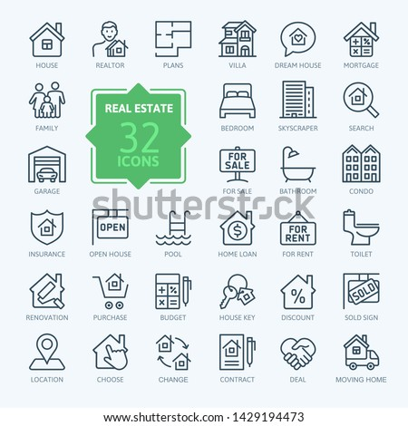 Real Estate minimal thin line web icon set. Included the icons as realty, property, mortgage, home loan and more. Outline icons collection. Simple vector illustration. #1429194473
