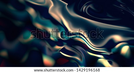 Mercurial smooth background. Liquid surface texture. Abstract organic shape in neon colors.