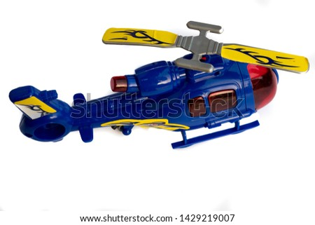 Blue helicopter toy isolated white background