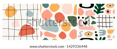 Set of three seamless patterns. Hand drawn various shapes and doodle objects. Abstract contemporary modern trendy vector illustration. Stamp texture. Every pattern is isolated #1429336448