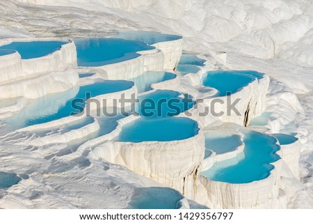 Natural travertine pools and terraces in Pamukkale. Cotton castle in southwestern Turkey #1429356797