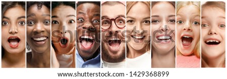 Close up portrait of young people. The human emotions, facial expression concept. Celebrating, feeling like a winners, astonished and shocked, happy screaming and crazy in happiness. Creative collage. #1429368899