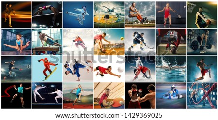Creative collage made of photos of 29 models. Tennis, running, badminton, swimming, basketball, handball, volleyball, american football, rugby players, snowboarding, tennis, hockey in motion. #1429369025
