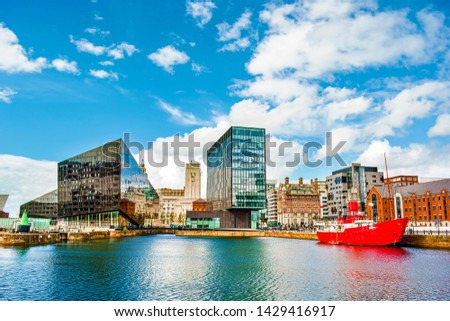 Buildings in Liverpool (England) near the river Mersey #1429416917