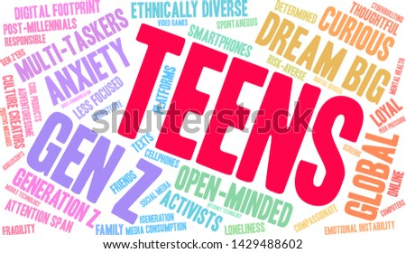 Teens word cloud on a white background.  #1429488602